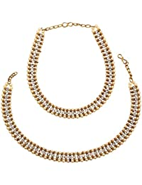 Lalso Amazing White Pearl Antique Gold Payal Anklet 1 Pair (2 Pcs) - LLA01_MT
