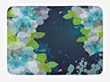 ASKYE Navy Bath Mat, Sketchy Abstract Blossoms Flowers with Leaves on Grunge Backdrop, Plush Bathroom Decor Mat with Non Slip Backing, 15.7X23.6 inch, Navy Blue Pale Green and White