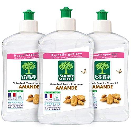 L'Arbre Vert - Liquide Vaisselle - Amande - 500 ml - Lot de 3