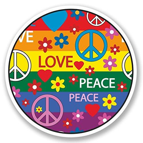 Preisvergleich Produktbild 2x Peace Love Vinyl Aufkleber Aufkleber Laptop Reise Gepäck Auto Ipad Schild Fun # 5353 - 10cm/100mm Wide