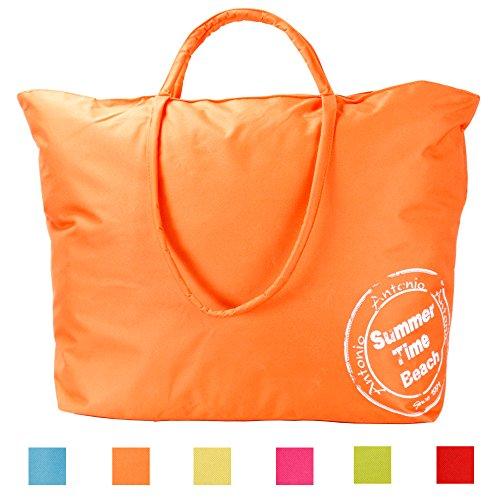 """XXL Strand,- und Badetasche Modell """"BeachTime"""" abwaschbar mit langem Schulterriemen in 6 FARBEN (pink) orange"""