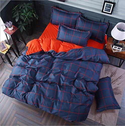 SHJIA Tröster Bettwäsche-Sets Geometrisches Muster Bettwäsche Baumwolle Polyester Bettbezug Bettlaken Kissenbezüge Bezug Set Lila 150X200Cm -