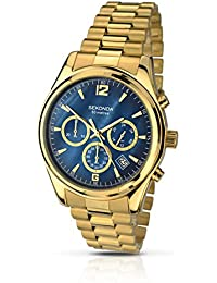 Sekonda Men's Quartz Watch with Blue Dial Chronograph Display and Gold Stainless Steel Bracelet 105027