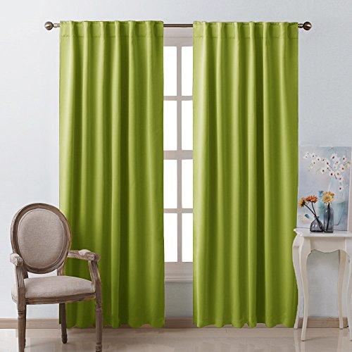 NICETOWN-Rückseite Tab/Rod Pocket massiv Blackout Vorhang Drape, Polyester-Mischgewebe, Grün (Fresh Green), W52 x L95 - Vorhang Grüne Rod