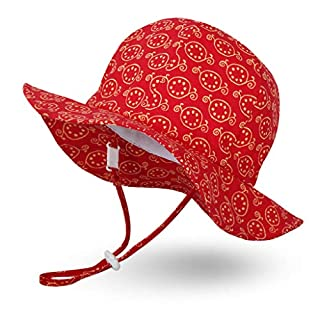 Ami&Li tots Unisex Child Adjustable Wide Brim Sun Protection Hat UPF 50 Sunhat for Baby Girl Boy Infant Kids Toddler - L: Pomegranates