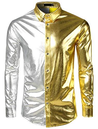 WHATLEES Herren Party Fasching Metallisch Bronzing Golden Kontrast Hemden Karneval Fastnacht, Ba0126-gold, ()