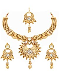 PALASH LIGHTWEIGHT BEAUTIFUL GOLD PLATED NECKLACE SET WITH WHITE AUSTRIAN DIAMOND WITH MANGTIKA.