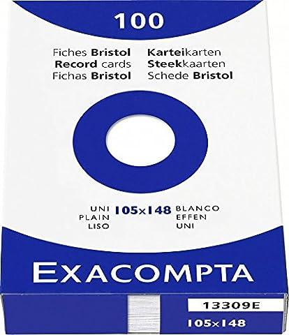 Etui de 100 fiches bristol - blanc uni non perfore