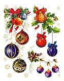 dpr. Fensterbild Set 7-tlg. Kugelgehänge Christbaumkugeln Schneeflocken Stern einseitig zart beglimmert statisch haftend Weihnachten Advent Fenstersticker Aufkleber Fensterdekoration
