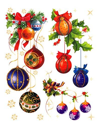 dpr. Fensterbild Set Kugelgehänge Christbaumkugeln Schneeflocken Stern zart beglimmert Weihnachten Advent Fenstersticker Fensterdeko