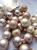 Treasured Memory 45tlg Kugeln Beige Creme Gold Weihnachtsschmuck Weihnachsdeko Hänger Weihnachten Dekoration Advent Schale Deko Baumschmuck