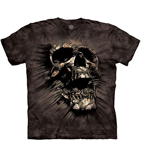 The Mountain Herren T-Shirt Breakthrough Skull - Schwarz - 3X-Groß (Schwarz T-shirt Erwachsene Kurzarm)