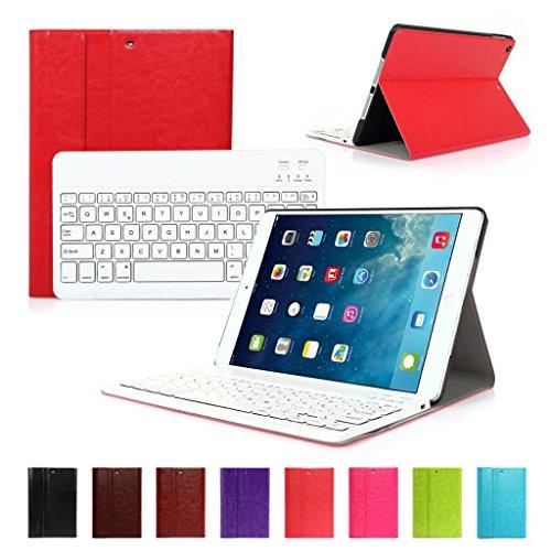CoastCloud color rojo funda Cubierta protectora cuero PU con Teclado Inalambrico QWERTY espanol para ipad Air 2(iPad 6) con