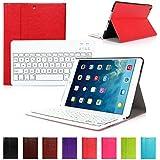CoastCloud color rojo funda Cubierta protectora cuero PU con Teclado Inalambrico QWERTY espanol para ipad Air 2(iPad 6) con Bluetooth