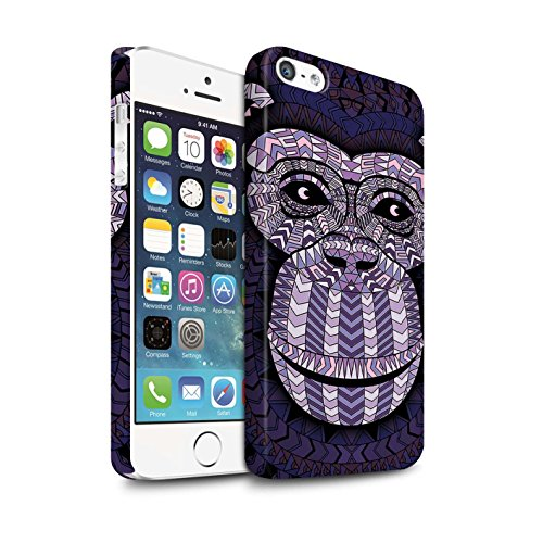 Clipser Matte Coque de Stuff4 / Coque pour Apple iPhone 7 Plus / Loup-Pourpre Design / Motif Animaux Aztec Collection Singe-Pourpre