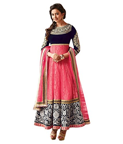 Brides Galleria Women's Net Anarkali Suit(SL1014_Multicolor_Free Size)