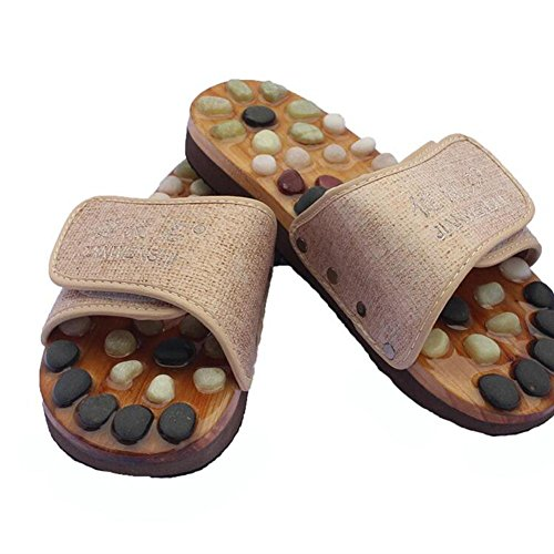FJY Akupressur Pebbles Massieren Massage Pantoffeln Ergonomisch Fußbehandlung Rutschfeste Haushalt Stoffwechsel Verbessern Gesund Bequem Lindern Müdigkeit , Beige 43 EU , A