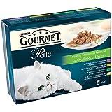 Gourmet Perle Katzenfutter Gemüse und Kaninchen und Karotten, Lamm und Gemüse, Kalb und Gemüse, Huhn und Gemüse, 2er Pack (2 x 8 x 85 g) Beutel