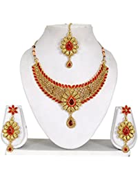 Vipin Store Golden & Red Color Kundan & Stone Gold Plated Jewelery Set - B078Y1GHK1
