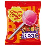 Chupa Chups Lecca Lecca The Best Of, Lollipop Frutti Assortiti Gusto Cola, Fragola, Arancia e Panna Fragola, Busta da 10 Lollipop Monopezzi
