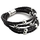 """Konov Jewellery Braided Genuine Leather Unisex Men's Bracelet Wristband, Stainless Steel Clasp, Colour Brown Silver, Length 8"""", 8.5"""", 9"""" (with Gift Bag)"""