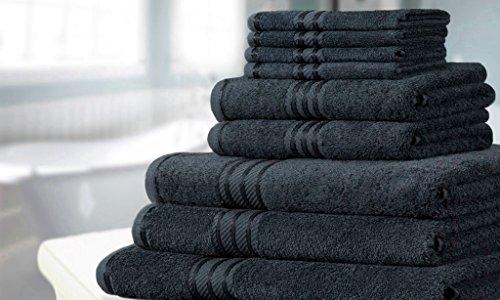 Knightsbridge 9-teiliges Handtuch-Set aus 500gsm ägyptischer Baumwolle Schwarz (Schwarze Handtücher Aus ägyptischer Baumwolle)