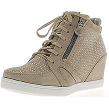 Cuñas zapatos topo con diamantes de imitación de tacón 6cm