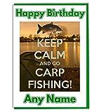 Keep Calm und Go Karpfenangeln Geburtstagskarte A5Elfenbeinfarben Leinen Karte