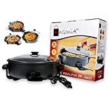 Bagonia™ Electric Pizza Pan And Pizza Maker | Multi Cooker | 1500Watt | Extra Large 36cm Diameter | Unbackable Glass Lid | Double Layer Non-Stick Surface And Cool Handles With Adjustable Temperature