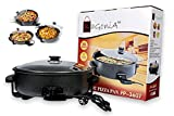 #4: BagoniaTM Electric Pizza Pan And Pizza Maker | Multi Cooker | 1500Watt | Extra Large 36cm Diameter | Unbackable Glass Lid | Double Layer Non-Stick Surface and Cool Handles with Adjustable Temperature