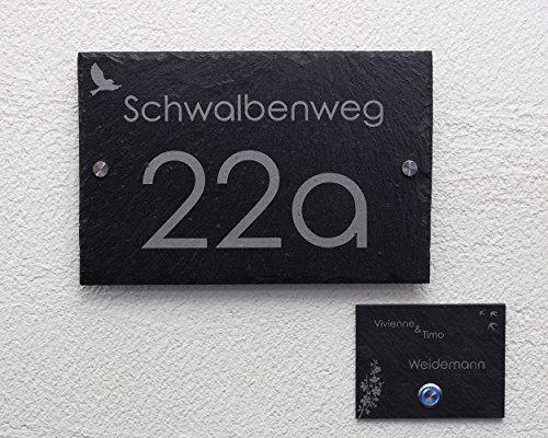 Hausnummer Set mit Gravur/Klingel Schieferklingel Klingelplatte mit LED Taster