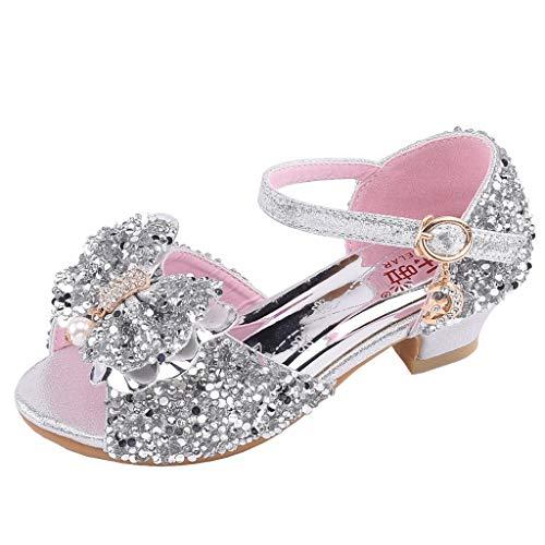 Holywin Kinder Schuhe Kleinkind Kinder Mädchen Bling Pailletten Einzelne Prinzessin Schuhe Sandalen Tanzschuhe Perle Schmetterling-Knoten Sandalen