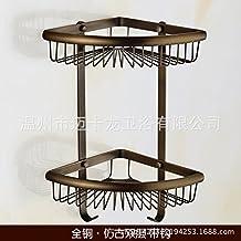 Triángulo de cobre el canasto baño doble cremallera esquina baño antiguas estanterías blancas asadas cobre-cromo cesta Cesta de alambre