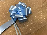 2m x 80cm White Dot Cellophane Wrap (folded). Including 1 x (Baby Blue) 50mm Pull Bow. Florist Quality / Bouquet / Gift / Basket Wrapping. (Baby Blue)
