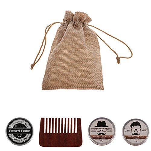 Sharplace Kit 4pcs Outils de Rasage pour Hommes Baume à Barbe à Hydrater + Cire à Barbe + Peigne à Moustache en Bois + Etui de Rangement