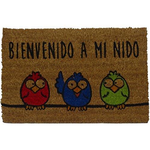 Felpudos Originales  con Diseño Bienvenido a Mi Nido, PVC, Coco, 60 x