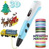 Pluma de Impresión 3D para Niños, AGPTEK Lapiz 3D Compatible ABS, PLA con Filamentos de 30 Color (91.44M), Dibujo de la Plantilla, Regalo de Cumpleaños para Niños, Adultos
