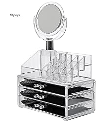 Styleys Natural Acrylic Jewellery Storage Boxes with Mirror