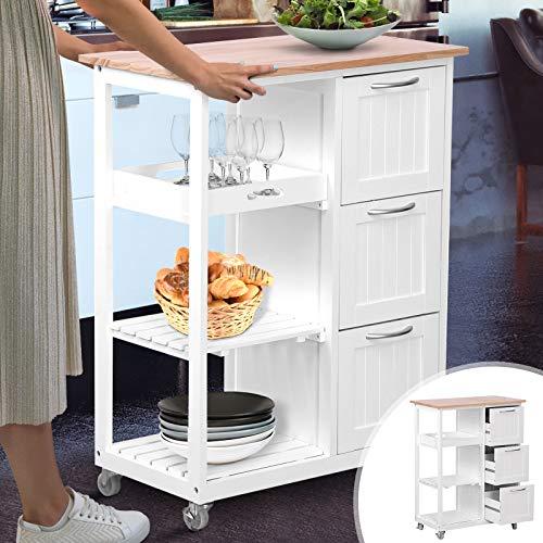 MIADOMODO Küchenwagen auf Rollen | 3 Schubladen, 3 Ebenen, Holz und MDF, 67x37x84 cm,Weiß-Natur | Servierwagen, Rollwagen, Küchentrolley, Küchenschrank im Landhausstil