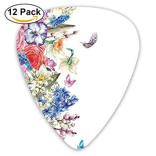 Vintage Flowers Willow Lilies Butterflies And Feathers Botanical Garden Guitar Picks 12/Pack Set Vintage Willow