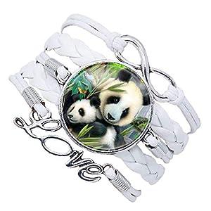 Sasavie Armband Frau/Mädchen / Kind Leder Geflochtene Unendliche Liebe mit Panda 17,5 cm + 5 cm Verlängerung Handgemacht