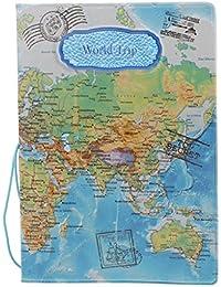Accesorios Viaje Fundas Pasaporte Caja Sostenedor Cubierta Organizador Protector Cartera Tarjetas Identificación Mapa del Mundo Tridimensional