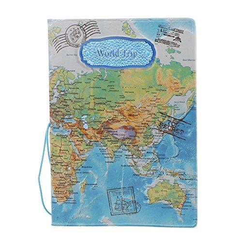 Accesorios Viaje Fundas Pasaporte Caja Sostenedor Cubierta Organizador Protector Cartera Tarjetas Identificación Mapa del Mundo Tridimensional - Azul
