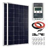 Giosolar MPPT, LCD, 100Watt 12Volt polykristallines Solarmodul-Kit mit 20A Laderegler für Wohnmobile, Wohnwagen netzferne
