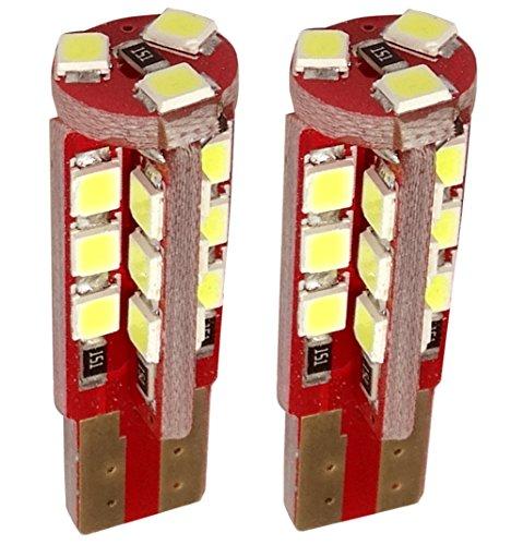 Aerzetix: 2x ampoule T10 W5W 12V 27LED 3.5W blanc effet xénon veilleuse éclairage intérieur seuils de porte plafonnier pieds lecteur de carte coffre compartiment moteur plaque d'immatriculation C19703