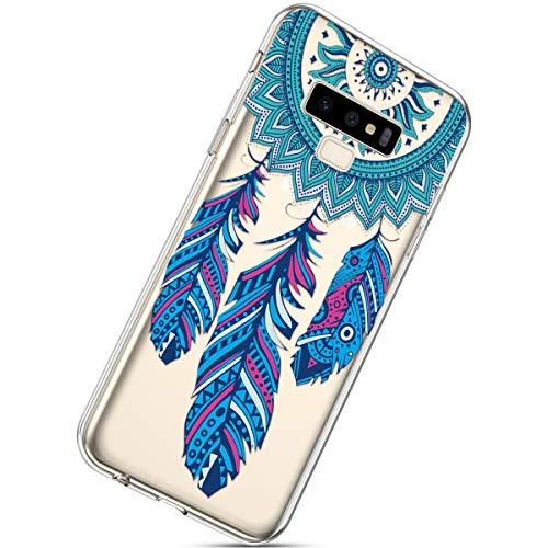 Handyhülle Kompatibel mit Galaxy Note 9 Schutzhülle Transparent Weiche Silikon Durchsichtig Schutzhülle Muster Crystal Silikonhülle Ultradünnen TPU Handy Tasche Stoßfest Bumper Case,Traumfänger Fede