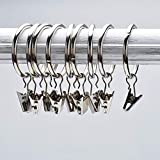 Musuntas, set di 30 anelli con clip per tenda, con diametro di 35mm, multiuso