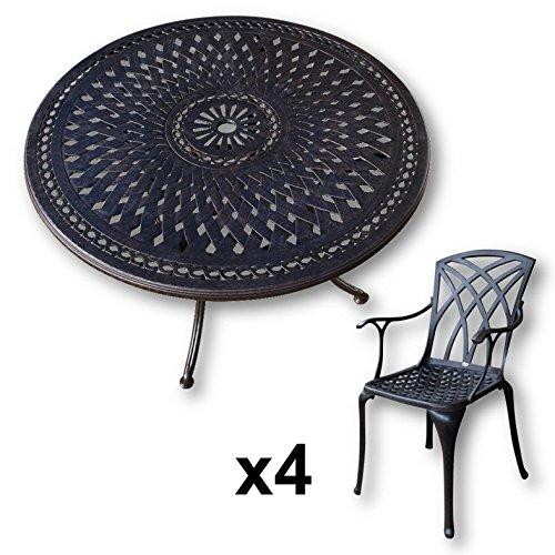 Table ronde 120 cm et 4 chaises de jardin - Pinkchair
