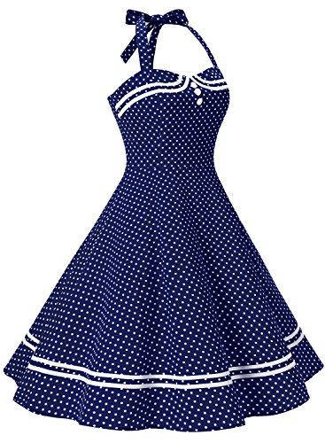 Damen 1950er Jahre Vintage Abendkleid Elegant Neckholder Retro Cocktailkleid Faltenrock Kleid Pinup Baumwolle Rockabilly Partei Swing - 3