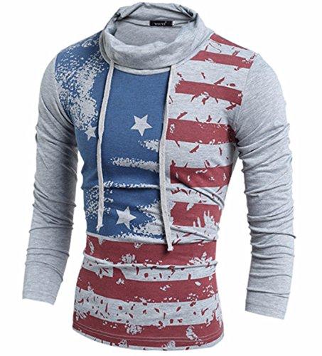 Men's High Quality Slim American Flag Print Pullover Casual Sweatshirts Grey